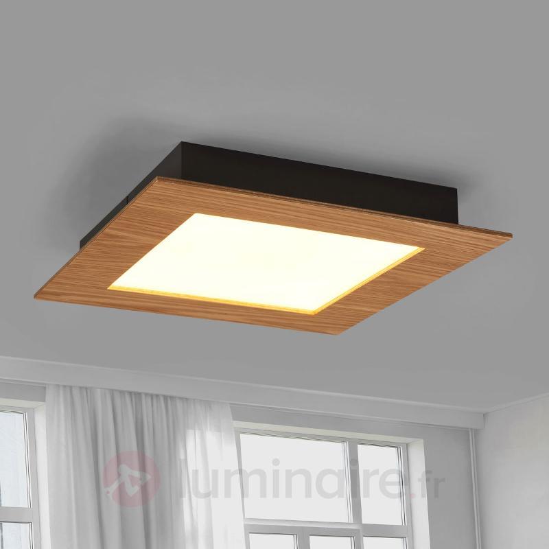 Chêne naturel - plafonnier LED Deno rebord en bois - Plafonniers en bois