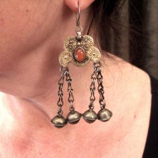 Boucles d'oreilles - Argent, vermeil, cornaline, Turkménistan