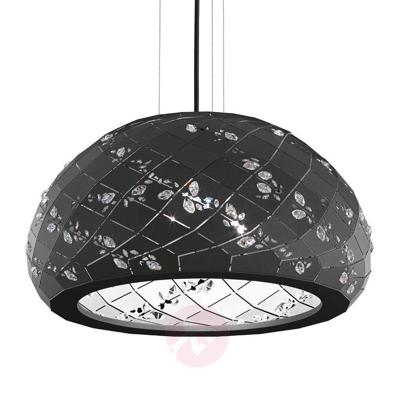 Apta - black pendant light with crystals, 53 cm - Pendant Lighting