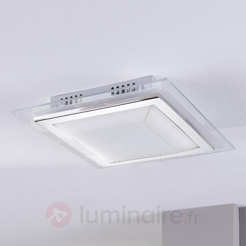 Plafonnier carré en verre Alessio à LED - Plafonniers en verre