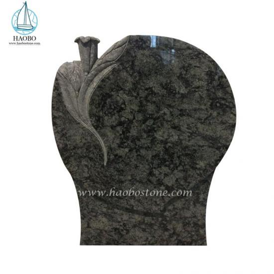 Olive Green Granite Headstone Lily Carved Tombstone Memorial Monument - Headstone