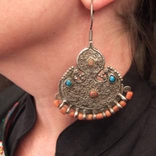 Boucles d'oreilles - Argent, turquoises, coraux, Ouzbékistan