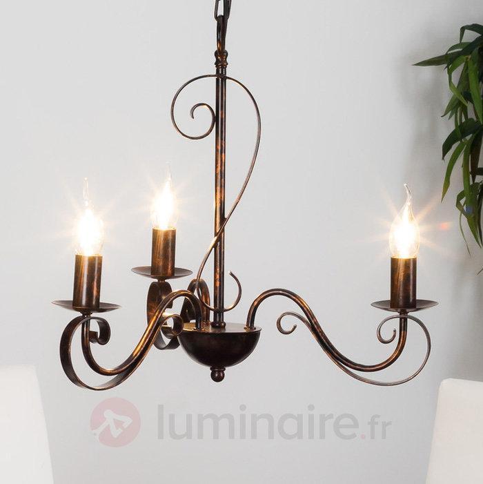 Lustre Caleb à trois lampes, couleur rouille - Lustres rustiques