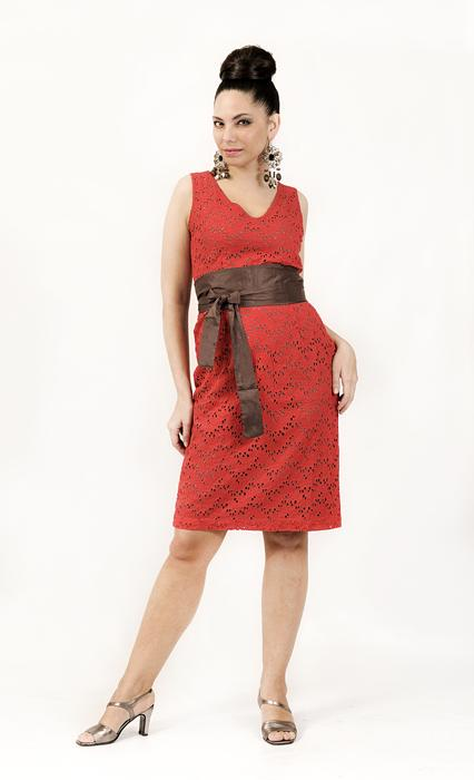Evening Dress - Cotton Eyelet Dress With Belt - Manufacturer and Exporter | OEM | Low MOQ Suppliers