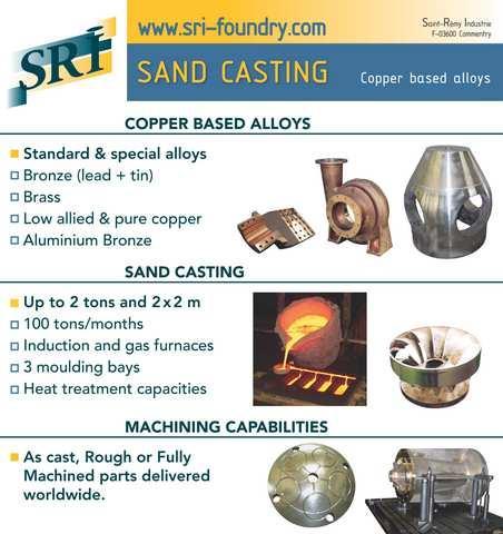 Fonderie sable SRI - Produits de coulée en sable de la société SRI