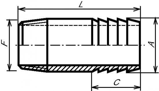 ADAPTATEUR CYLINDRIQUE MÂLE - CANNELÉ INOX 316 L (5261)