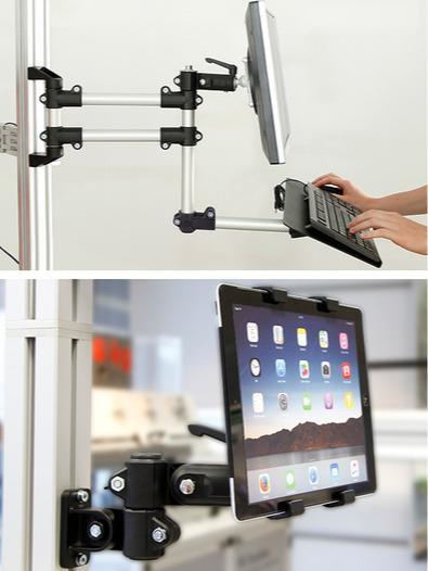 Bracci orientabili per monitor per una configurazione -