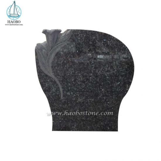 Blue Pearl Granite Monument Lily Carved Headstone - Headstone