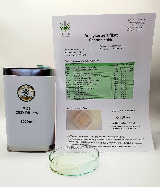 MCT CBD Öl 5% 1 Liter - MCT - CBD Hanf-ÖL Tropfen 5% 1 Liter 50.000mg CBD