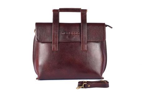 Square handle womens leather handbag