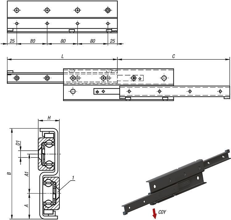 Rail télescopique Forme S - Rails de guidage à rouleaux