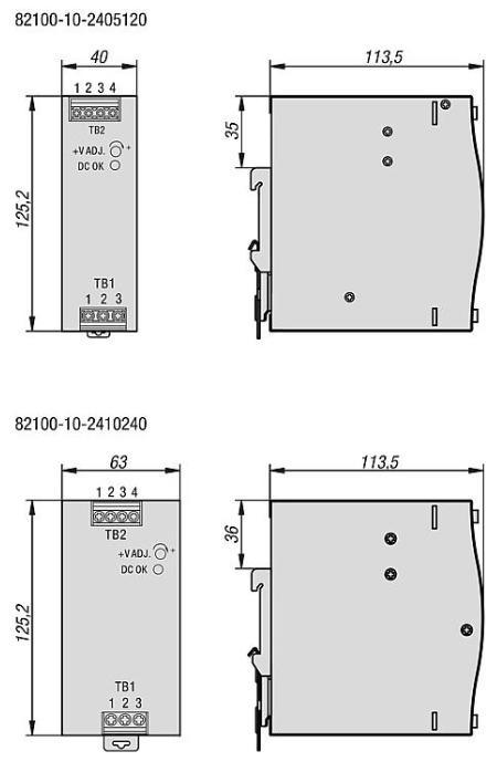 Alimentations à découpage pour montage sur rail symétrique - Alimentation à découpage primaire monophasée dans un boîtier métallique