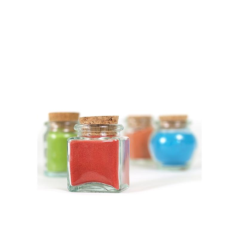 24 Mini Square jars 30 ml - Mini jars with cork stopper