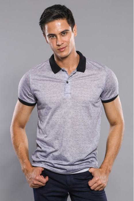 Floral Patterned Grey Polo T-Shirt - Floral Patterned Poly-Viscose Grey Polo T-Shirt