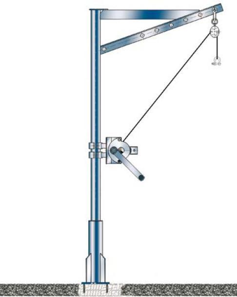 Gru a braccio girevole 150 kg - Gru a braccio girevole, zincata a fuoco, carico max. 150 kg, sbraccio 275-775 mm