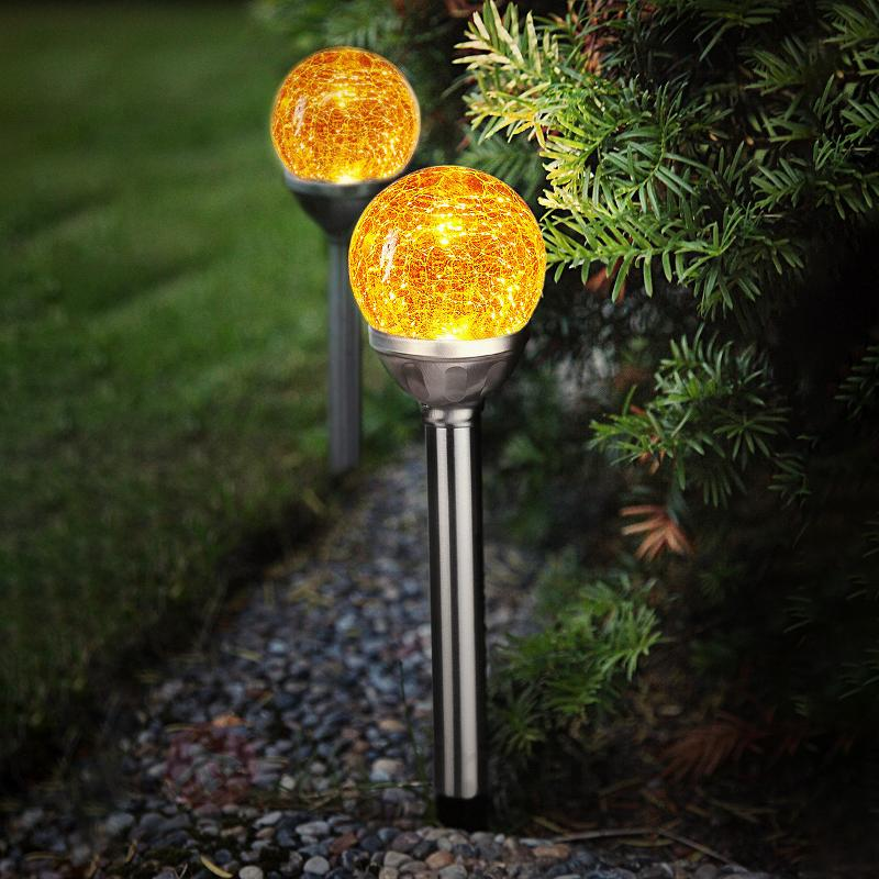 Lampe solaire LED Roma avec boule verre, kit de 2 - Lampes décoratives d'extérieur