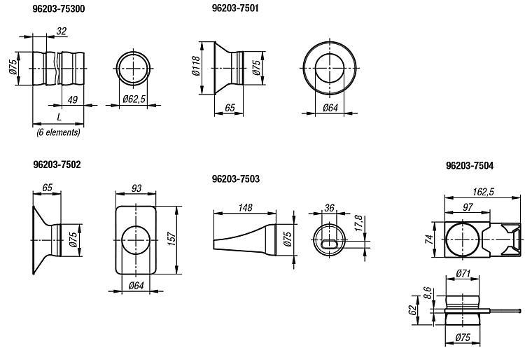 Suction hoses LOC-LINE® Flexi 75 antistatic - Feeler gauge strips-  Magnetic labels - Envelopes Protective nets