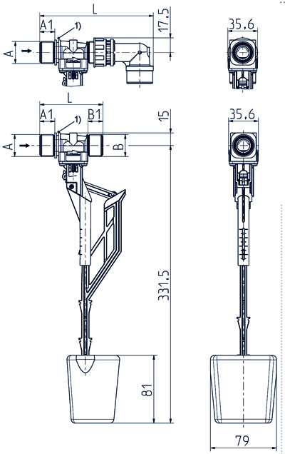 Float valve, DN 13, with vertical guide float - 21.013.126 lin