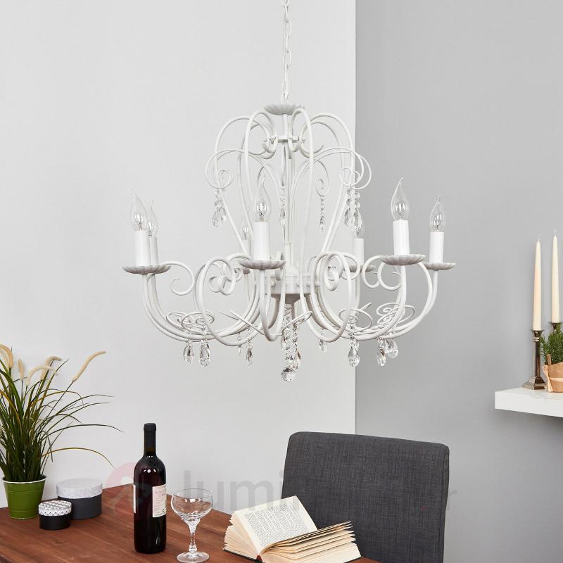 Grand lustre Sophina en blanc - Lustres classiques,antiques