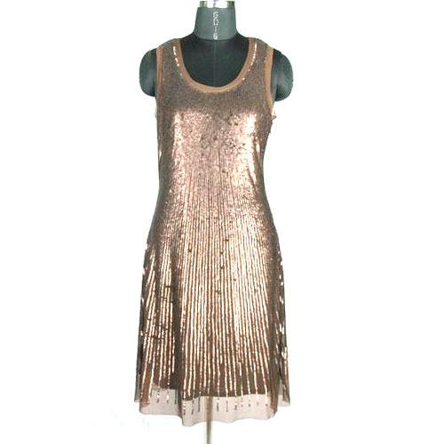 One Piece Sequin Short Dress in Shiny Copper