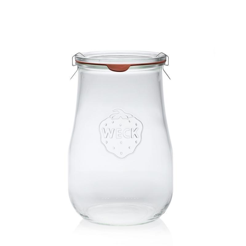 4 tarros WECK Corolle® 1750 ml  - con tapas en vidrio y gomas (clips no incluidos)