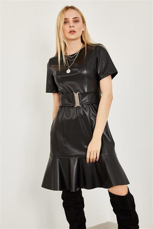 Women's Black Leather Dress - Midi Dress