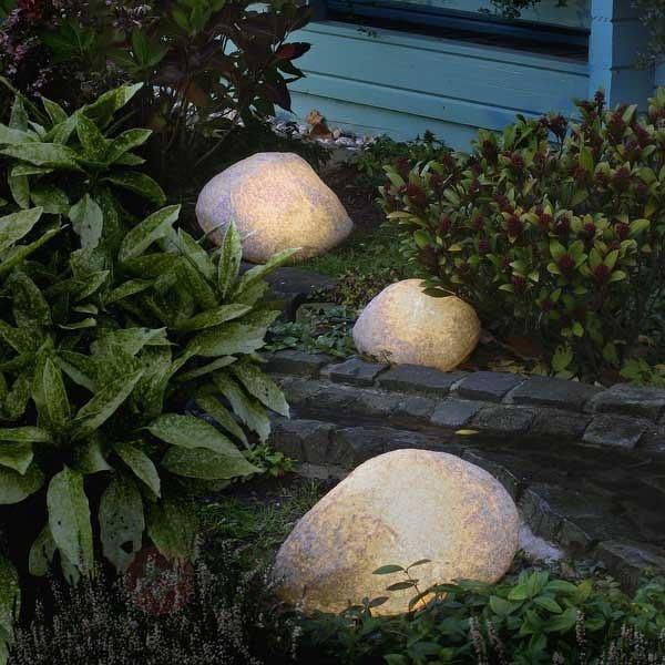 Pierres lumineuses avec câble en caoutchouc - Lampes décoratives d'extérieur