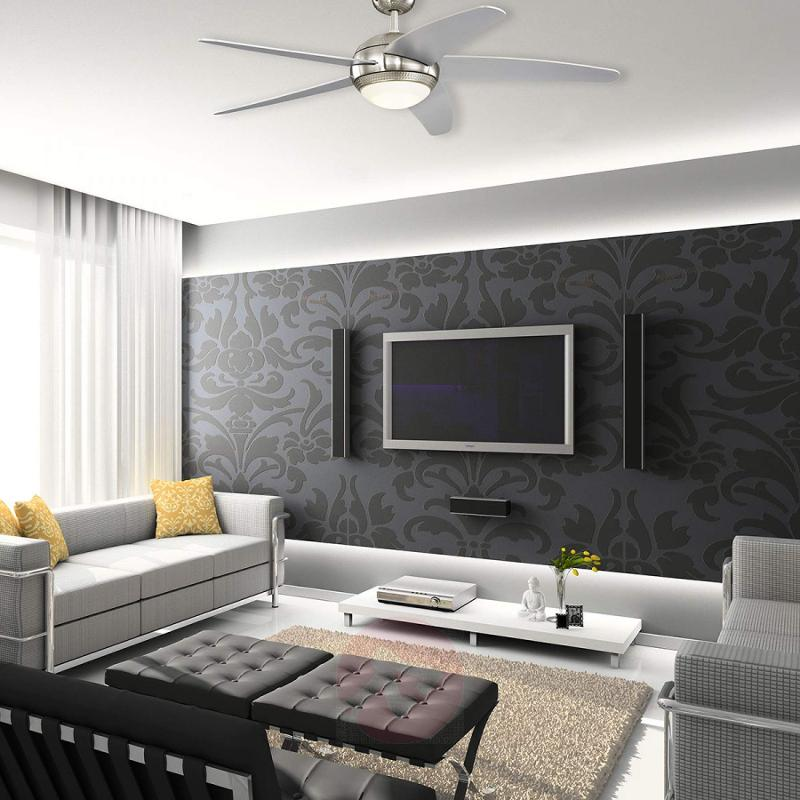 LED ceiling fan Bendan - silver-coloured blades - fans