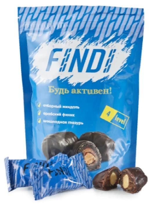 Glaze dates with almond, Black, 150g - FINDI
