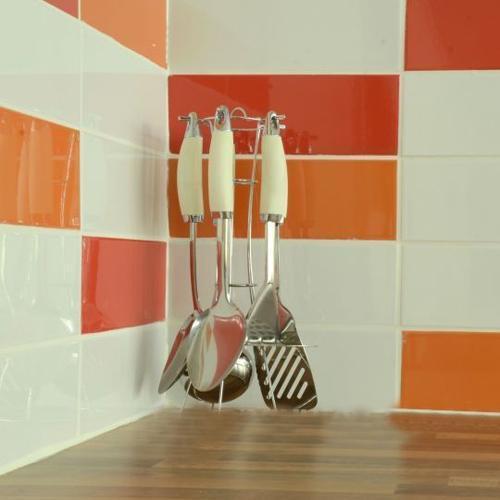 Carrelage de cuisine,, Carreaux de céramique en céramique orange ...