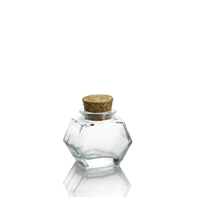 24 mini bocaux HEXAGONAL 40 ml, avec bouchon en liège - Mini bocaux