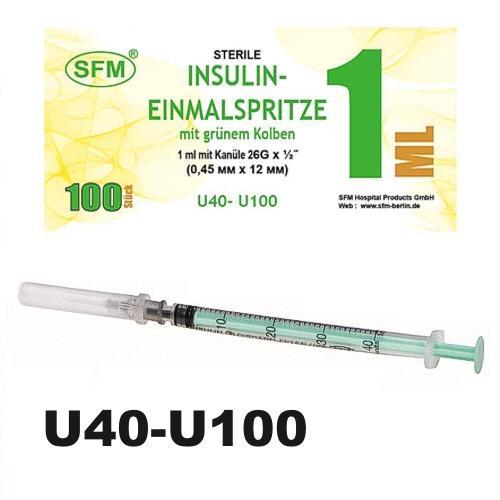 SFM Insulinspritze Einmalspritze - 1ml U40/U100 grüner Kolben + 26G Kanüle (100)