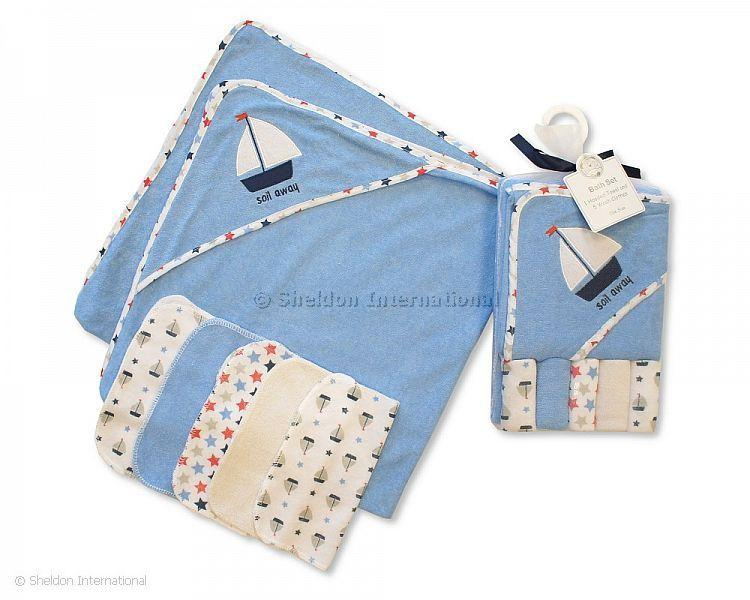 Baby Hooded Towel and Wash Cloth Set - Sky - Hooded Towels