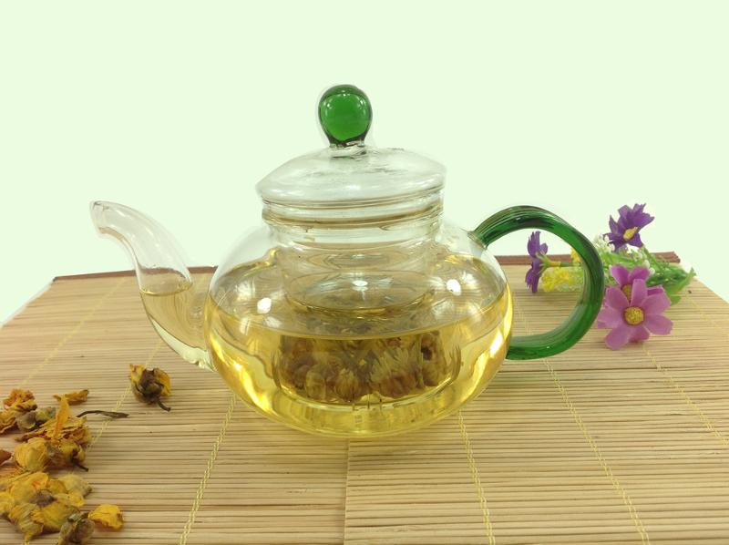 GLASS TEAPOT WITH GREEN COLOR  - 600ML