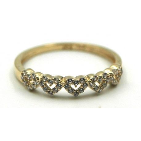 Anillo de Oro con Corazones Circonitas - Un anillos sencillo y elegante para todos los días