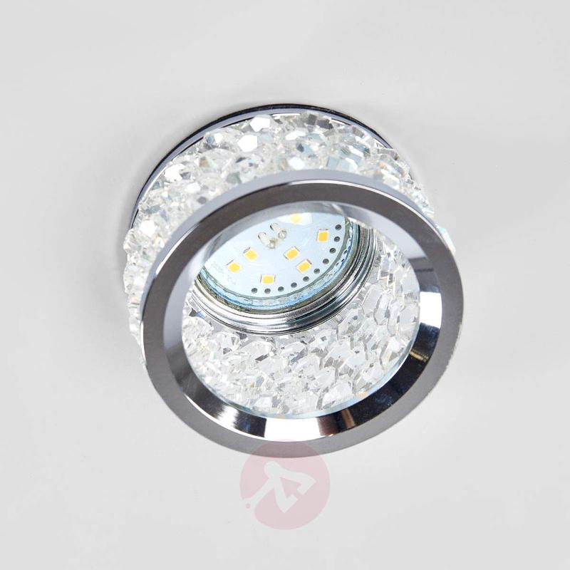 Iwen Built-In Light Set with Crystals Chrome - High-Voltage Spotlights