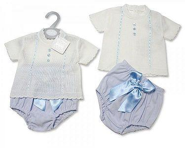 Baby Boys Knitted Spanish Style 2 Pieces Set with Bow  -