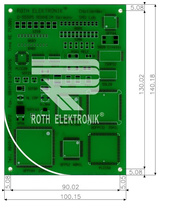 RE712001-LF - PCB for SMT Solder Practice