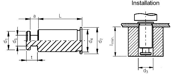 Self-clinching fasteners - PEM® - Keyhole standoffs Type SKC