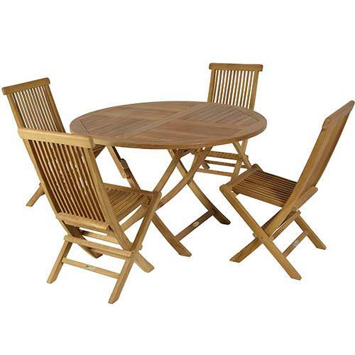 Conjunto Mesa Redonda de Teca. - Mesa y cuatro sillas de teca primera calidad