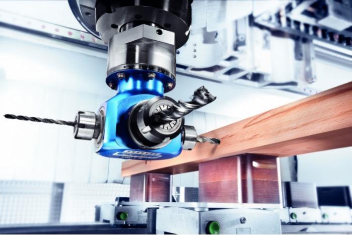 Vierfachwinkelkopf QUATTRO - CNC Aggregat / Winkelkopf mit 4 Werkzeugaufnahmen zur Bearbeitung von Holz