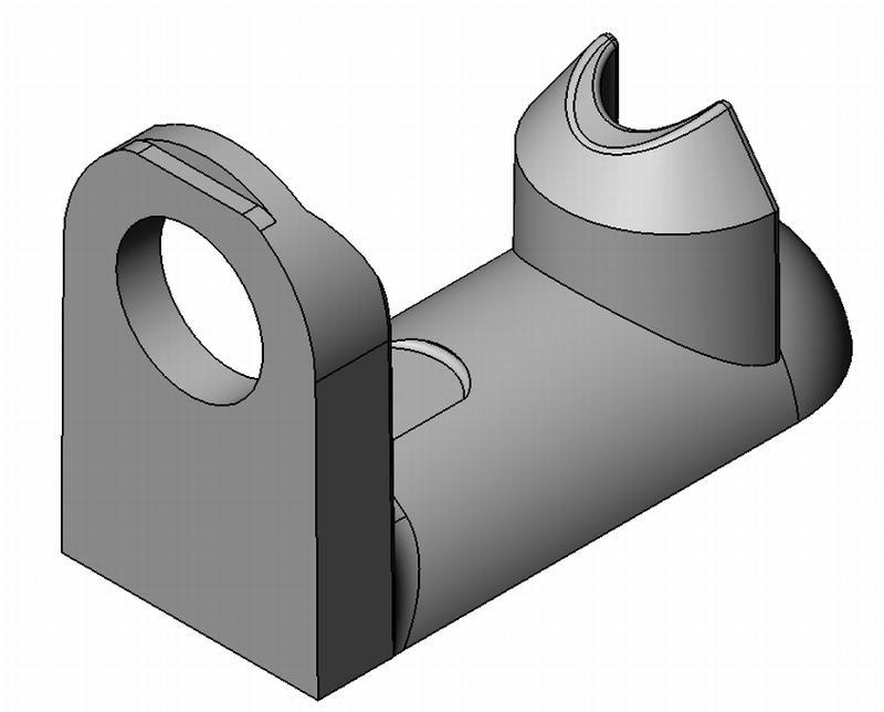 Bodenträger halbrund MPS - Zamak - mit Loch - blank - Bodenträger Zn 1 Zapfen