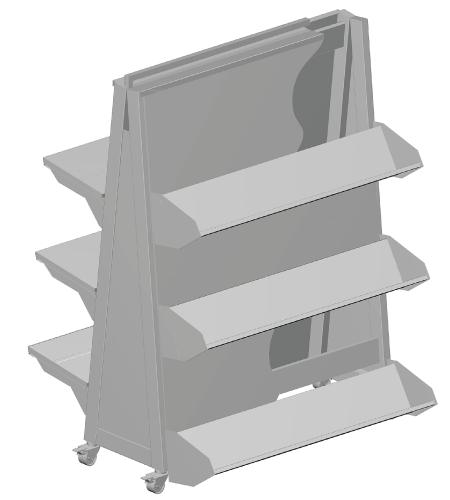 Modular shop rack systems & instore interior shelving design - Triangular promo island
