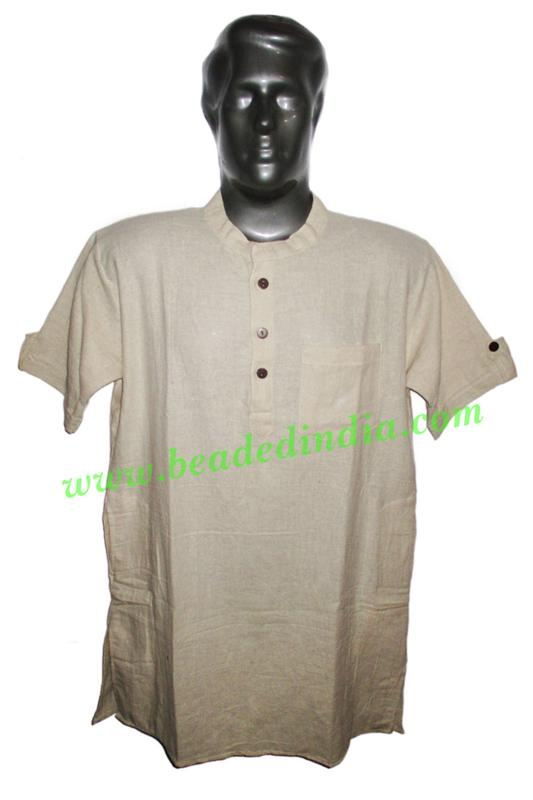 half sleeve long khadi yoga kurta, size : chest 46 x height  - half sleeve long khadi yoga kurta, size : chest 46 x height 34 inches (medium).