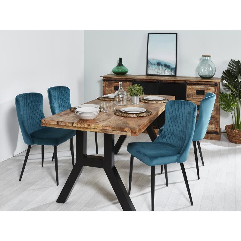 Chaise 31518bc - Seville Bleu Canard - Lot De 4 - 3248111518695