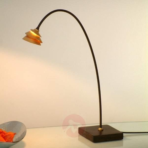 Elegant table lamp SNAIL in iron - brown-gold - Table Lamps