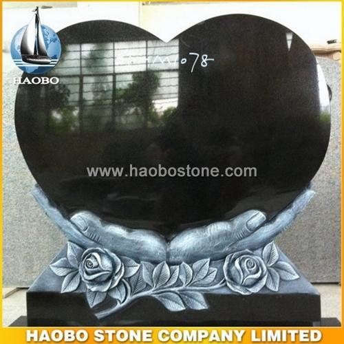 Antique Finish Heart Shaped Granite Tombstone - Denmark Style