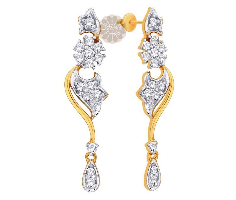 Designer Floral Gold Earrings -