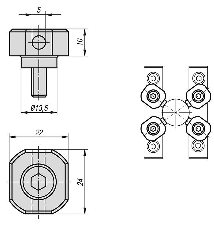 Eléments de serrage cylindriques - Étau de bridage 5 axes