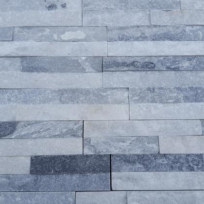 White Grey Quartz Cladding - 360x100x7-11 split face 3D mosaic